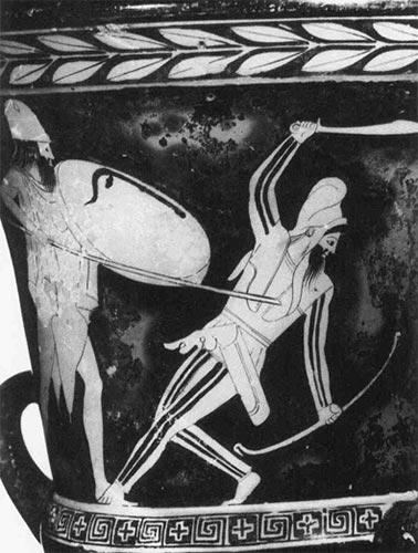 Греческий гоплит поражает перса копьем