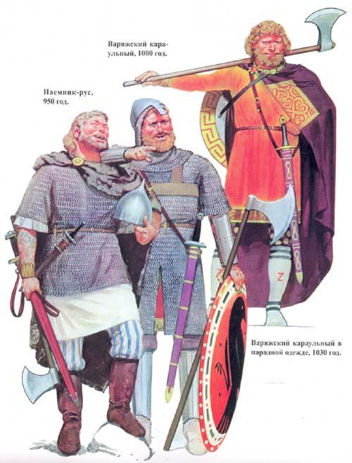 Варяжская стража, военная история, военное обмундирование и вооружение