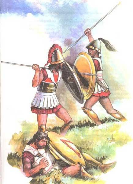 Фиванский и спартанский гоплиты в битве при Левктрах