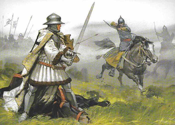 Литовские лучники атакуют тевтонского рыцаря