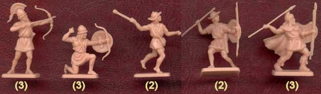 Фигурки солдатиков - легкая пехота греков