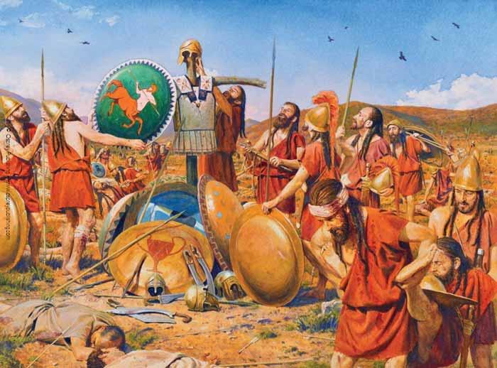 Агесилай ранен в битве при Коронее