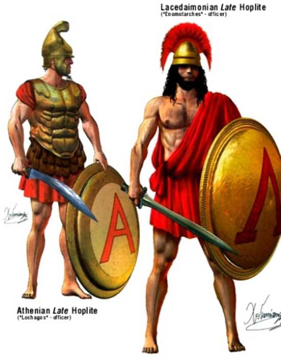 Спартанский и афинский гоплиты