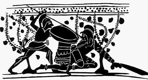 Греческий гоплит бьет копьем перса
