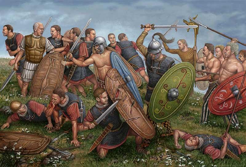 Цезарь против белгов в битве на реке Сабис