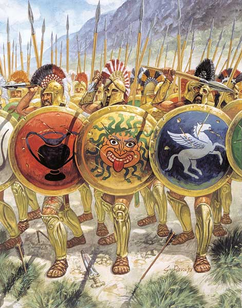Греческие гоплиты в битве при Микале