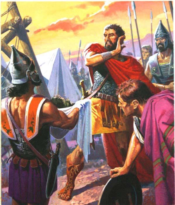 Ганнибалу вручают голову Газдрубала