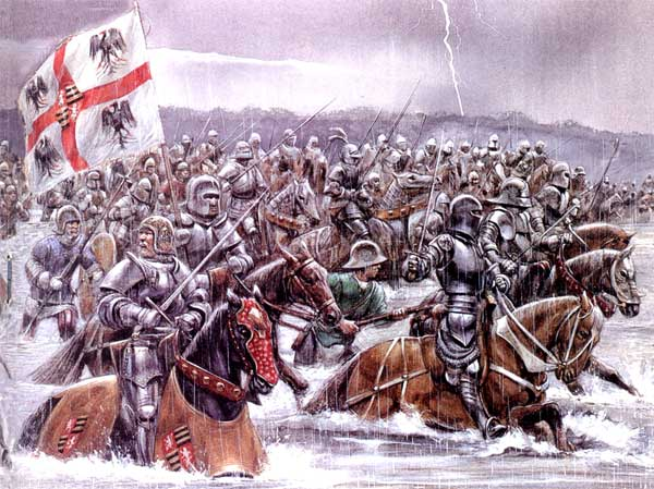 Атака итальянцев через реку Таро в битве при Форново