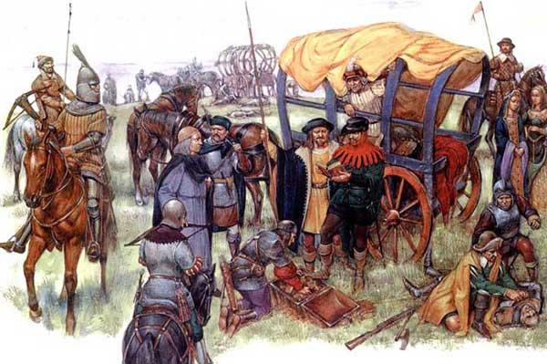 Стратиоты грабят королевский обоз в битве при Форново