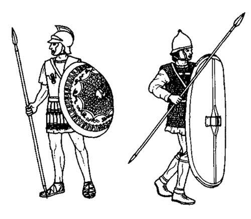 Карфагеняне или ливо-финикийцы с асписом или скутумом