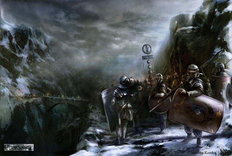 Армия Вителлия переходит через Альпы