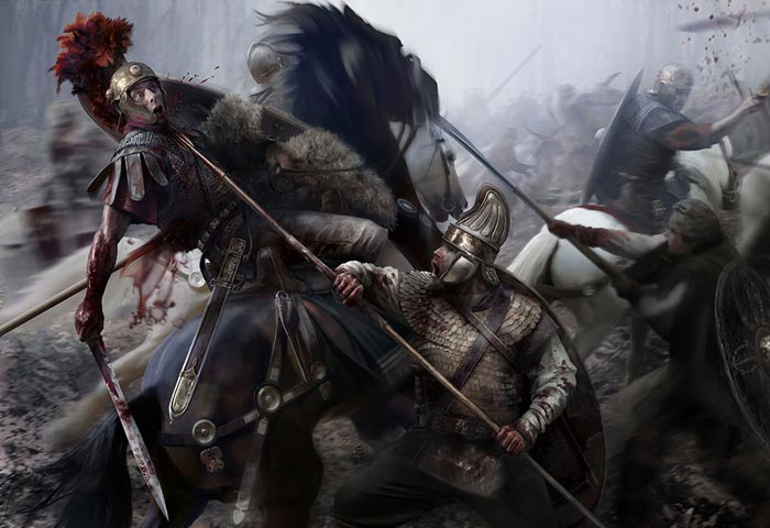 Римская конница сражается с даками