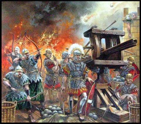 Римская армия 1 в. защищает укрепления