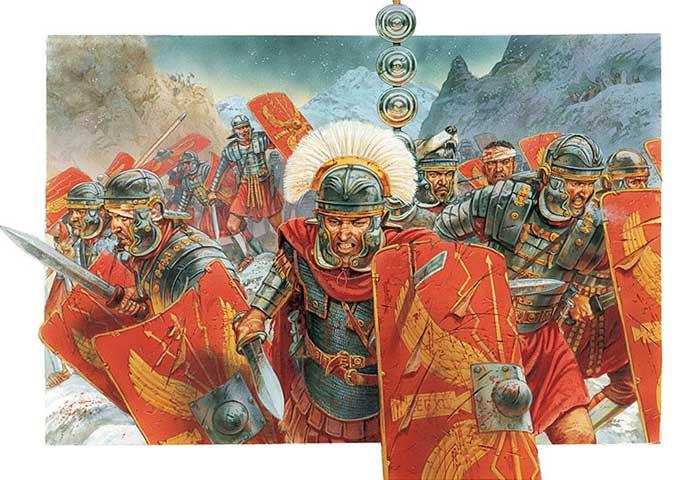 Римские легионеры 1 в. в бою