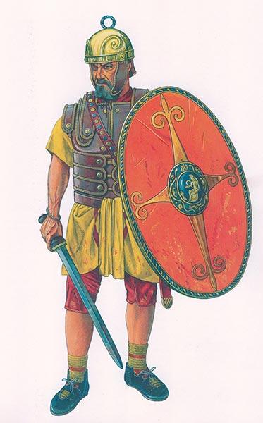 Реконструкция римского воина в кожаном доспехе