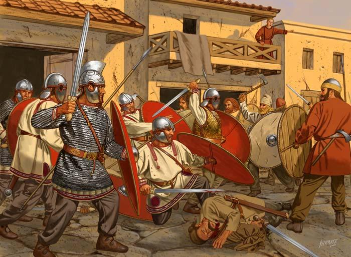 Римские солдаты обороняют город от готов