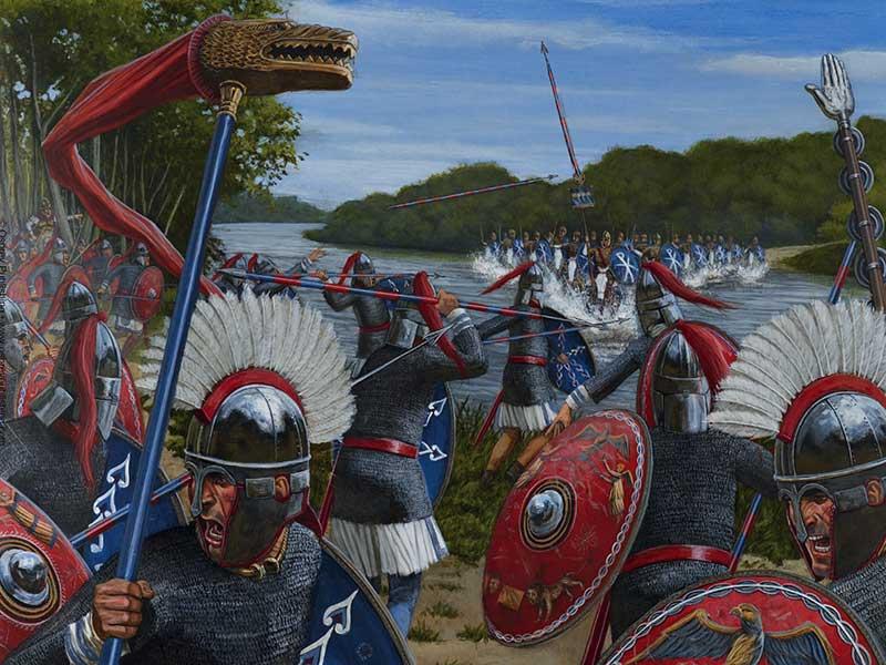 Константин атакует Лициния на реке Гебр