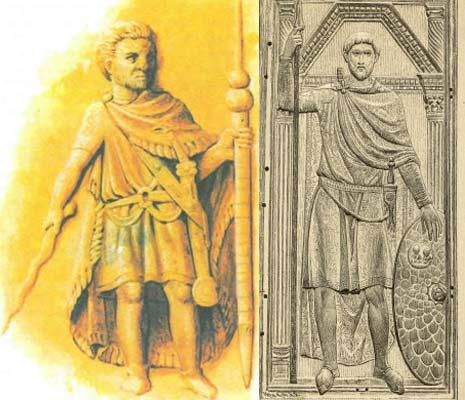 Изображение римских воинов поздней империи без доспехов