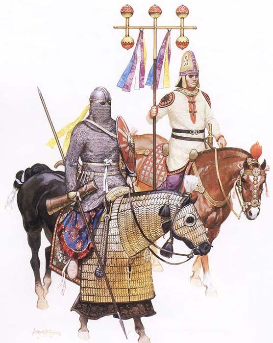 Катафракт и знаменосец персов сасанидов