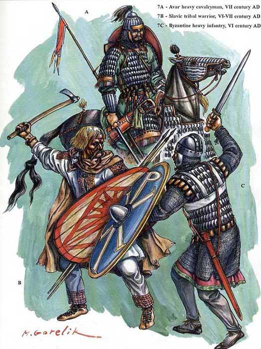 Воины славян, византийцев и аваров