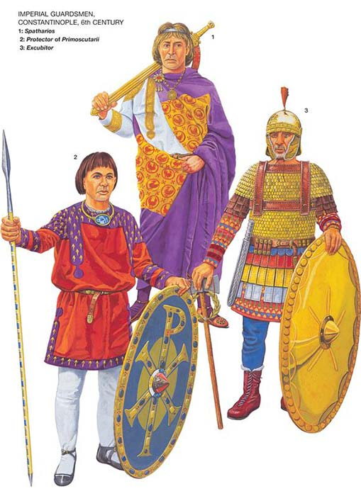 Гвардейские отряды Византии, 6 в.