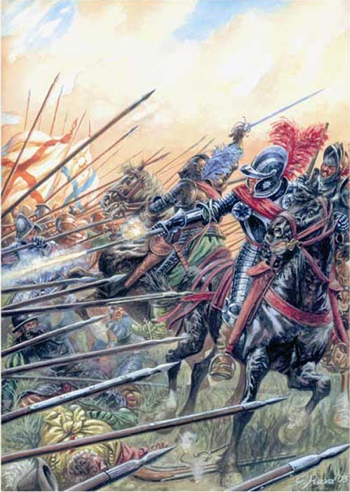 Рейтары атакуют пикинеров в битве при Иври