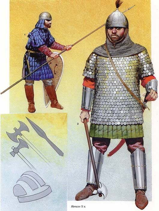 Тяжеловооруженный византийский пехотинец 10 в.
