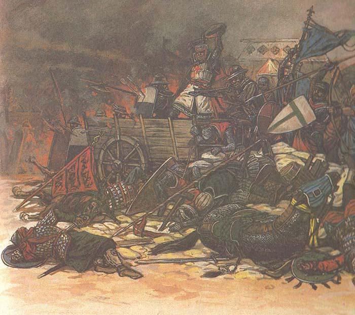 Сарацины штурмуют лагерь крестоносцев под Мансурой