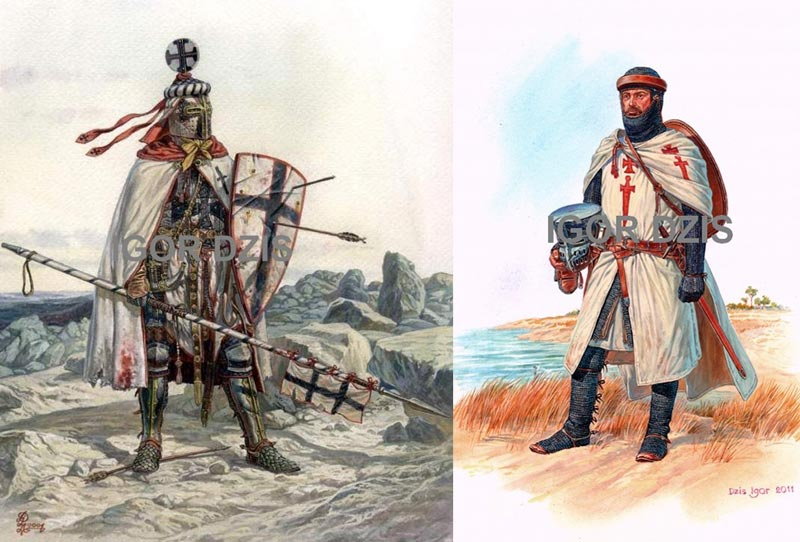 Рыцари тевтонцев и меченосцев, середина 13 в.