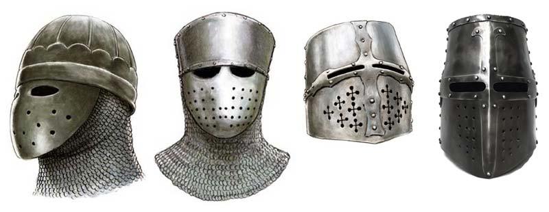 Эволюция рыцарских шлемов 12-13 вв.