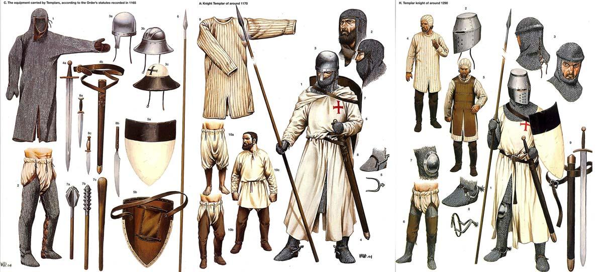 Одежда и вооружение рыцарей тамплиеров