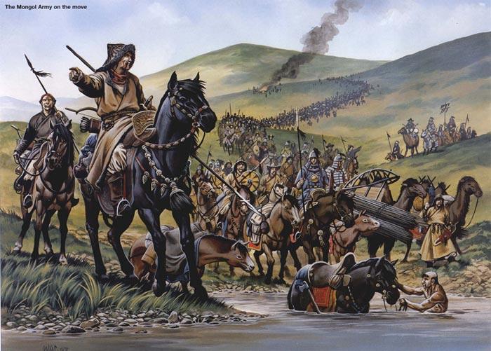 Монголы переправляются через реку